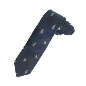 Polo Ralph Lauren 100% Silk Skinny Repp Neck Tie